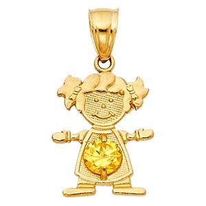 14kY Gold November  Birthstone CZ Girl Pendant